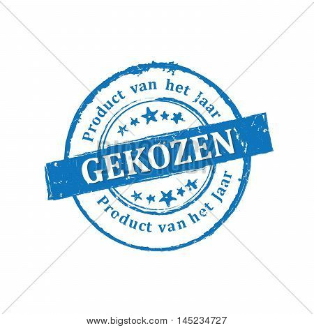 Chosen product of the year (Dutch language: Product van het jaar gekozen) - grunge blue printable label / icon / stamp. Grunge layer is applied exactly on the colored stamp.