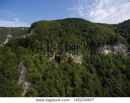Drone photos. Beautiful mountain waterfall. Guam gorge Monks Fall