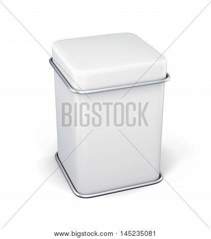 White Tin Box Packaging Container For Tea Or Coffee Isolated On White Background. 3D Rendering.
