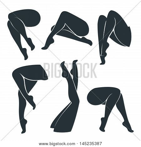Set of silhouettes of female legs isolated on white background. Women's legs in different positions. Vector illustration.