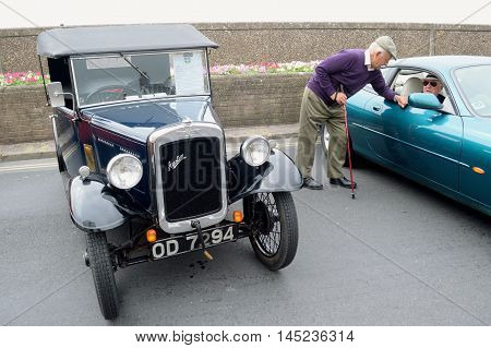 SEATON UNITED KINGDON-AUGUST 28 2016: The annual Classic Car Show at the start of Carnival week in Seaton Devon. Nearly 100 classic cars fill the Esplanade from Fishermans Gap to Beach Road.