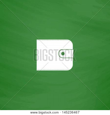 Wallet. Flat Icon. Imitation draw with white chalk on green chalkboard. Flat Pictogram and School board background. Vector illustration symbol