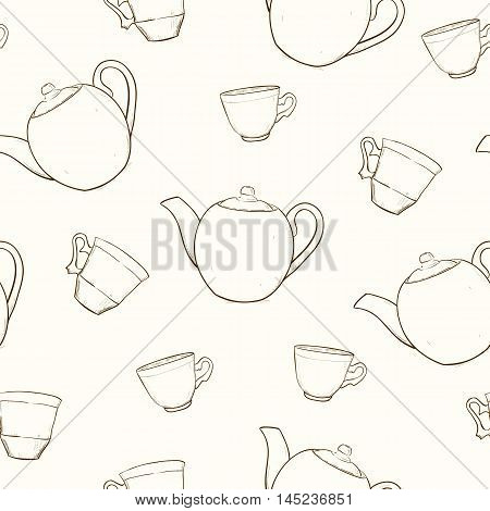 Seamless pattern with sketches cups and teapots. Vector illustration