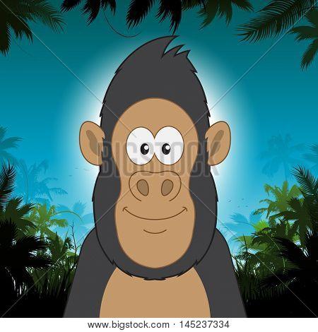 Cute cartoon gorilla in front of jungle background