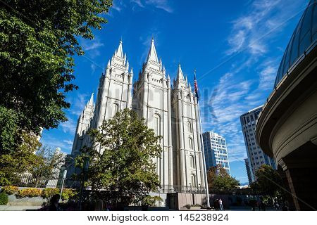 Fascade Of Salt Lake Temple In Utah