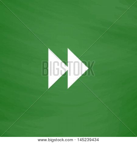 Rewind forward. Flat Icon. Imitation draw with white chalk on green chalkboard. Flat Pictogram and School board background. Vector illustration symbol