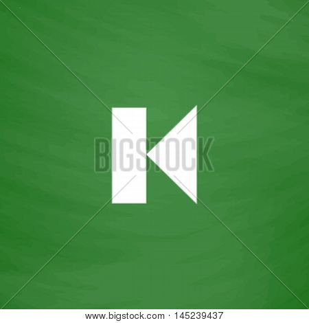 Back Track arrow Media player control button. Flat Icon. Imitation draw with white chalk on green chalkboard. Flat Pictogram and School board background. Vector illustration symbol