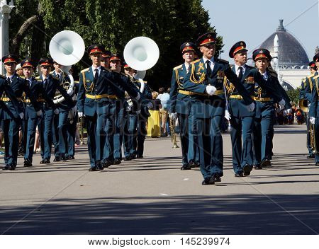 MOSCOW, RUSSIA - August 27, 2016: Military brass band of Russia marches. Festival of military orchestras