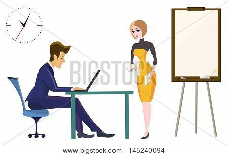 Boss and secretary in the office of the head. Secretary with documents in hand near the flip chart. On the wall clock. The working process.