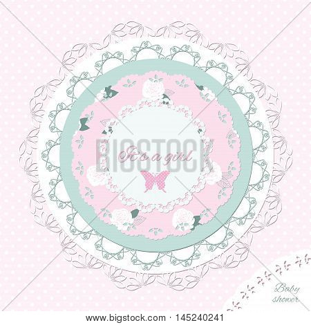 Baby shower invitation template. Scrapbook design elements.