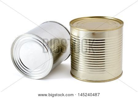 Two shiny tin cans on white background