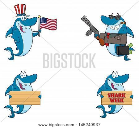 Blue Shark Cartoon Mascot Character 1. Collection Set Isolated On White Background