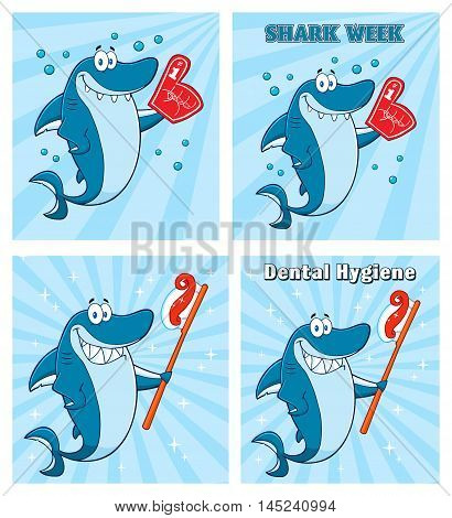 Blue Shark Cartoon Mascot Character 6. Collection Set With Background