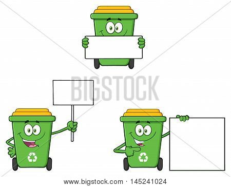 Recycle Bin Cartoon Character 2. Collection Set Isolated On White Background
