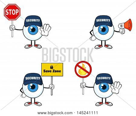 Blue Eyeball Guy Cartoon Mascot Character 4. Collection Set Isolated On White Background