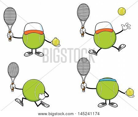 Tennis Ball Faceless Cartoon Mascot Character 9. Collection Set Isolated On White Background