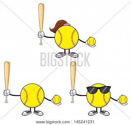 Softball Faceless Player Cartoon Character 3. Collection Set Isolated On White Background