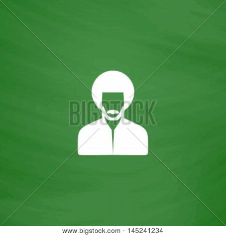 Rastafarian man. Flat Icon. Imitation draw with white chalk on green chalkboard. Flat Pictogram and School board background. Vector illustration symbol