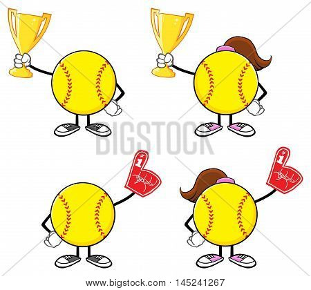 Softball Faceless Player Cartoon Character 7. Collection Set Isolated On White Background