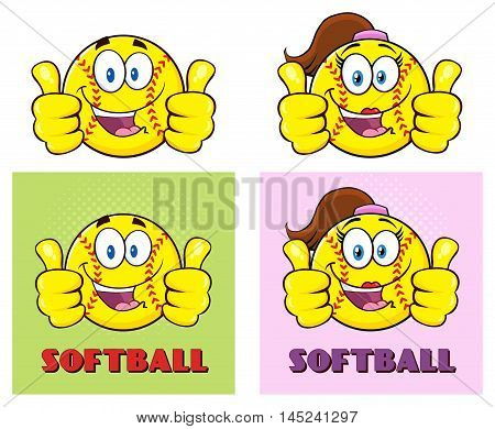 Softball Cartoon Characters Giving A Double Thumb Up. Collection Set