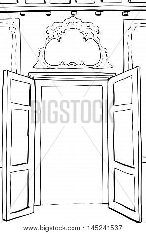 Outlined Rococo Doors Illustration