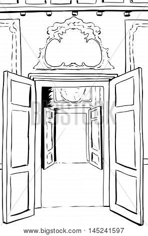 Outlined Open Doorways In Stockholm Palace
