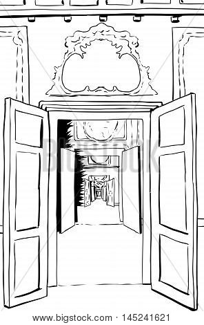 Outline Of Doorways And Halls In Palace
