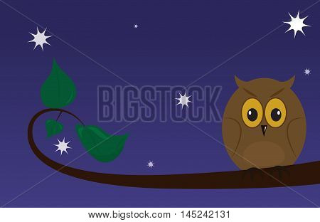 Cartoon owl on a branch on a background of the starry sky. Vector illustration
