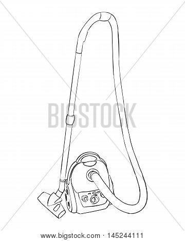Vector sketch of vacuum cleaner. Hand draw illustration.
