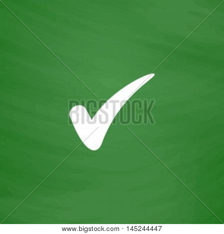 Confirm. Flat Icon. Imitation draw with white chalk on green chalkboard. Flat Pictogram and School board background. Vector illustration symbol