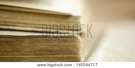 Web banner of old books in the library - wisdom knowledge concept