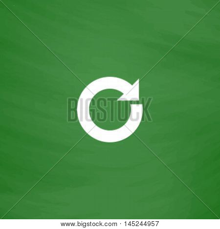 Circular arrow. Flat Icon. Imitation draw with white chalk on green chalkboard. Flat Pictogram and School board background. Vector illustration symbol