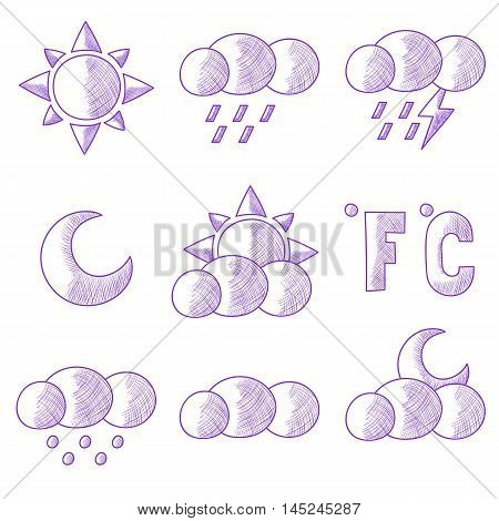 Collection of hand drawn weather forecast icons. Vector image