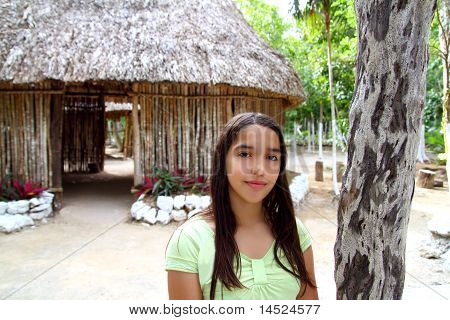 Indian Girl In Jungle Palapa Hut House Rainforest
