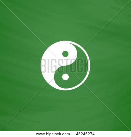 Ying-yang icon of harmony and balance. Flat Icon. Imitation draw with white chalk on green chalkboard. Flat Pictogram and School board background. Vector illustration symbol