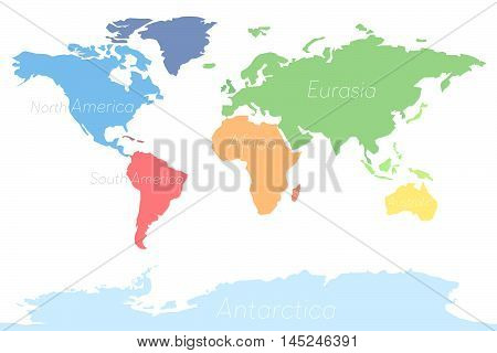 World Map Continents Colorful. Vector illustration Clean
