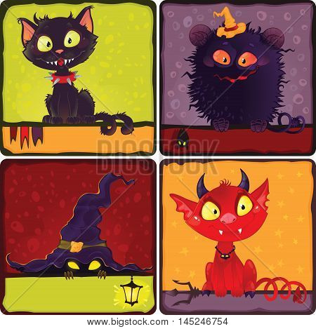Halloween monsters. Cartoon halloween funny characters set. This image is an easy to edit vector illustration. Image contains gradients transparency blending modes. EPS 10 Can be scaled to any size without loss of resolution