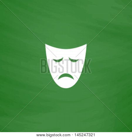 Sadness mask. Flat Icon. Imitation draw with white chalk on green chalkboard. Flat Pictogram and School board background. Vector illustration symbol