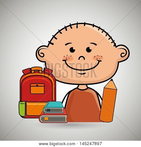 boy student bag color book vector illustration eps10