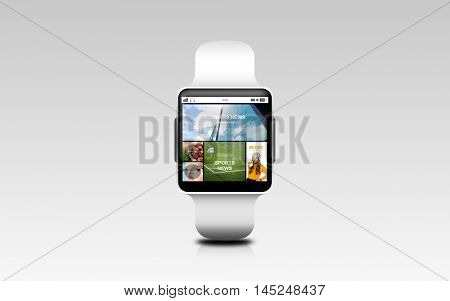 modern technology, object, internet and media concept - close up of smart watch with news web page on screen over gray background