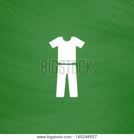 Uniform - pants and t-shirt. Flat Icon. Imitation draw with white chalk on green chalkboard. Flat Pictogram and School board background. Vector illustration symbol