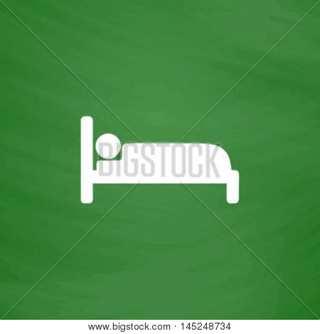Human in bed. Flat Icon. Imitation draw with white chalk on green chalkboard. Flat Pictogram and School board background. Vector illustration symbol