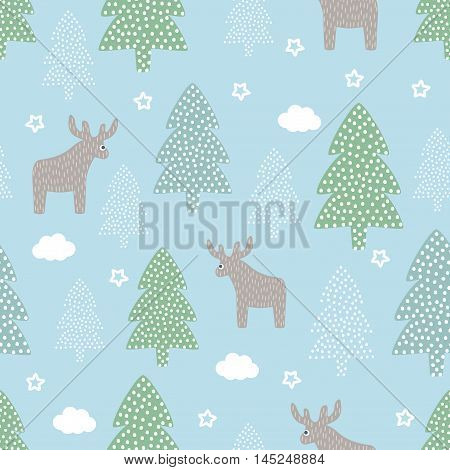Christmas pattern - Xmas trees, deers, stars. Happy New Year nature seamless background. Forest design for winter holidays. Vector winter holidays print for textile, wallpaper, fabric, wallpaper.