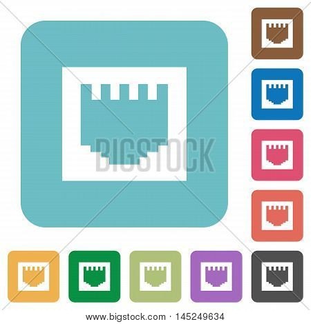 Flat ethernet connector icons on rounded square color backgrounds.