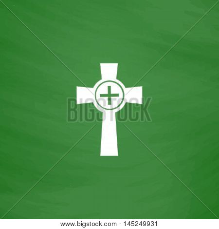 Tombstone - cross gravestone. Flat Icon. Imitation draw with white chalk on green chalkboard. Flat Pictogram and School board background. Vector illustration symbol