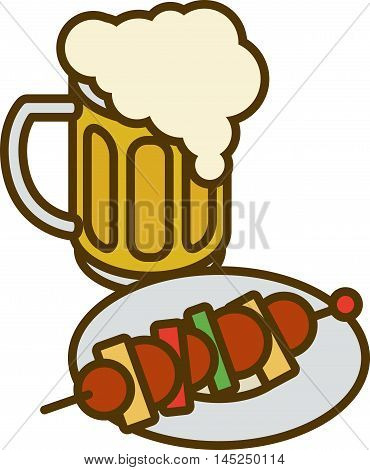 Overflowing Beer Mug with Overflow and Plate with Kebab Isolated on a White Background