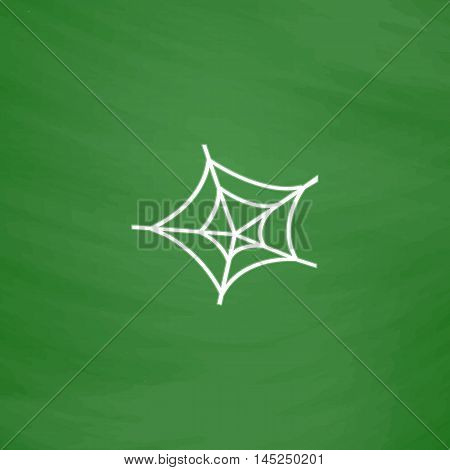 Spiderweb. Flat Icon. Imitation draw with white chalk on green chalkboard. Flat Pictogram and School board background. Vector illustration symbol