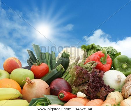 A mixture of fruits and vegetables against a sunny blue sky
