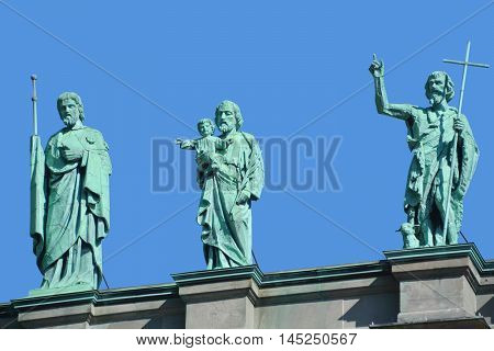 MONTREAL-CANADA AUGUST 17 2016: Statues on the Cathedral-Basilica of Mary, Queen of the World in Montreal, Quebec, Canada, is the seat of the Roman Catholic archdiocese of Montreal.