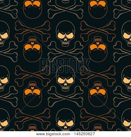 Seamless pattern of skulls and bones for Halloween